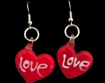 Love red heart earrings