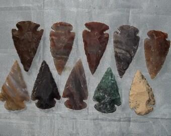 "Set of (10) 1-1/2"" Agate Arrowheads - Bulk Lot - ""NEW"""