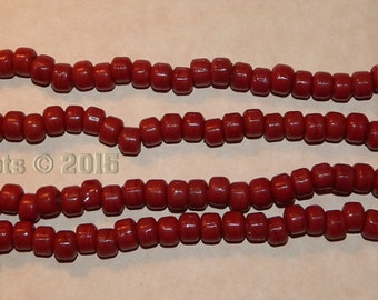 2 Strands Red Crow Beads - Rendezvous - Sewing - Crafts - Re-enactor