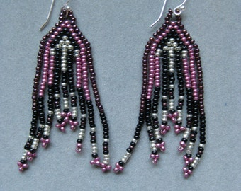 Black, Pink and silver Native American Style Seed Beaded Earrings