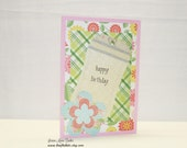 Handmade Birthday Card, Floral Birthday Card, Pink Green Blue