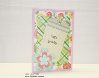 Handmade Birthday Card, Floral Birthday Card, Pink Green Blue