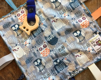 baby 'Rikiki' blanket blue owls, blue, navy or grey minky