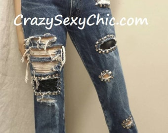 Size 5 Peek-A-Boo Studded & Patched Women's Jeans Black Lace