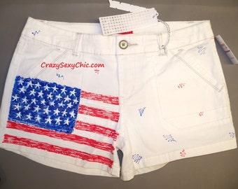 Hand-Painted White Flag Shorts size 11 Women's Juniors