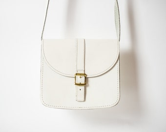 70s Small Satchel in White Leather  