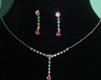 Rhinestone Necklace Choker Earring Set Bridal Prom Jewelry Pink Austrian Crystal