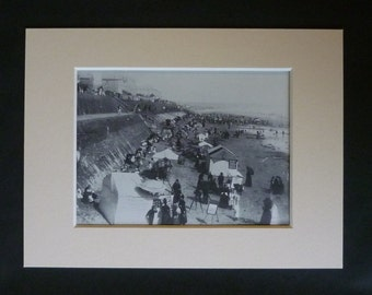 English Seaside Print of Bridlington Beach, Available Framed, Coastal Art, Victorian Picture, Old Photography Decor, Summer Vacation Gift