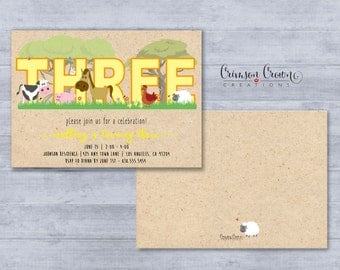 Farm Number Birthday Invitation - Number Can Be Customized - Farmer Party Invite - Barn Animals Invite - Third Birthday - Digital File