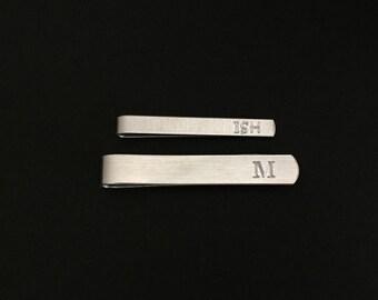 Personalized Tie Clip. Engraved Tie Bar. Handmade Aluminum Tie Bar. Groomsmen Gift. Wedding. Gift for Dad. Boyfriend. Husband. Birthday.