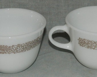 Vintage Pyrex Corelle Woodland Brown Flower Leaves Coffee Cup Mug Milk Glass Retro Kitchen