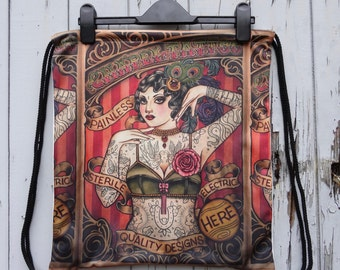 Vintage Tattooed Lady Backpack - Bag Gym Handbag Vintage Alternative Poster Tattoo Pin Up