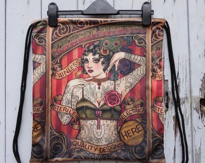 Vintage Tattooed Lady Backpack - Bag Gym Handbag Vintage Alternative Poster Tattoo Pin Up