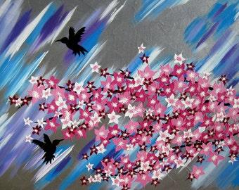 "cherry blossom, tree , painting of cherry blossom, wedding present, wedding gift, wedding gifts, wedding presents, 28"" x 20"""