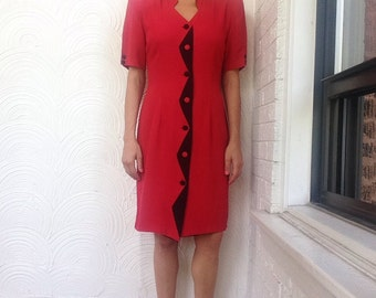 1980s Zig Zag Button Dress