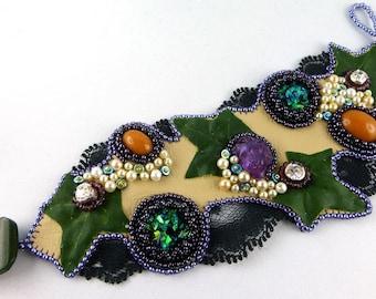 Bracelet, Cuff, Bead Embroidery, Wine