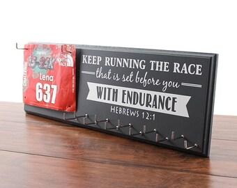 Running medal holder and race bib hanger - Hebrews 12:1 - keep running the race