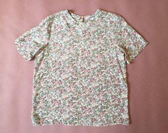 floral silk crop top / vintage 80s silk top