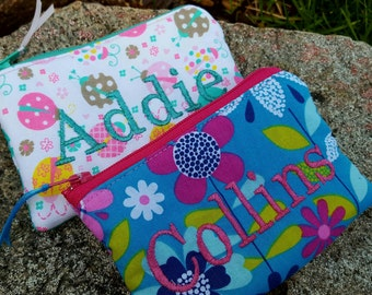 Girl's Coin Purse, Personalized Zipper Wallet, Change Purse, Ear Bud Bag, Cupcake Pouch