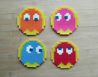 Pacman Ghosts - Perler set of 4 - coasters - magnets - ornaments - retro gaming // Fan Art