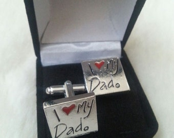 I Love My Dad - Gifts for Men - Handmade Anniversary Gift - Gift Box Included - Silver Tone
