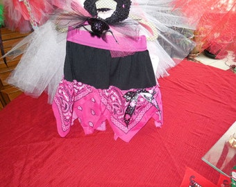 Pink and Black Rock Star Bandana Skirt, Size 3