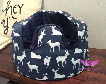 Premier Prints Navy Deer and Navy Minky Silhouette Bumbo Cover