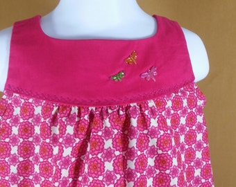 4T little girls deep hot pink smocked dress with pockets