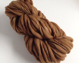 Handspun Thick and Thin Yarn, Merino, 50 yards, Walnut