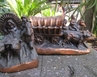 Wagon Train Bookends created and made in the west by dodge inc