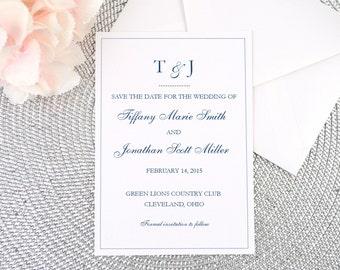 Save the Date, Card, Invitation, Wedding Announcement, White Shimmer, Navy Blue, Cobalt, Monogram, Script, Elegant, Calligraphy, DOTS Design