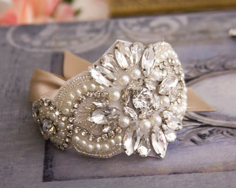 Bridal Cuff Bracelet, Wedding Bracelet, Bridal Cuff, Jeweled Wedding Cuff Bracelet, Vintage Inspired Wedding Cuff Bracelet, Bridal Bracelet