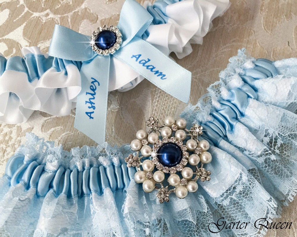 Wedding Garter Set With Blue Lace Blue Lace Garter Set Lace