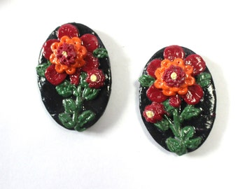 Set of two Flowered Polymer clay Refrigerator Magnets