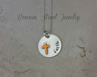 Sterling Silver and Gold Cross Necklace