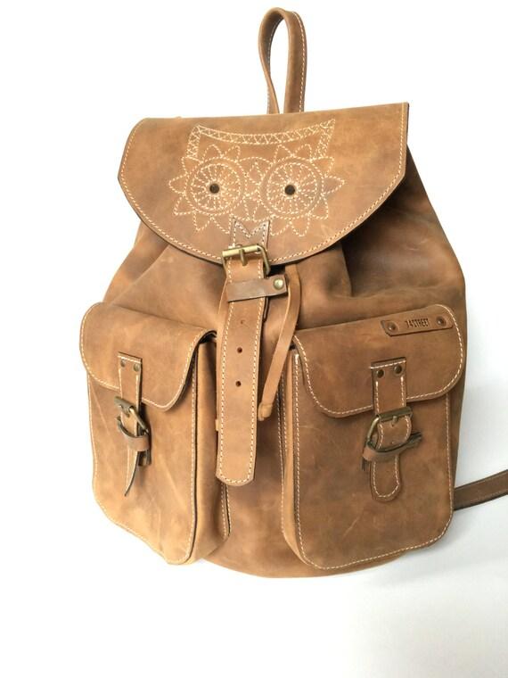 Leather Backpack,Full Grain leather Back Pack,Owl Eboidred Leather Backpack,Travel Bag,Overnight Bag, School Bag,Student Bag,Leather Rucksac