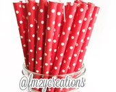 Red Paper Straws (25) RED Paper Straws Small Swiss Polka Dot Paper Straws: Valentine's Day Party, Christmas, Lady Bug Birthday