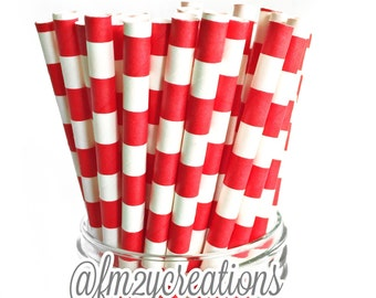 Red Paper Straws (25) RED Paper Straws Red Circle Paper Straws:Cake Pops, Diy Flag, RED Weddings, Carnival Party,Circus Party