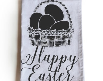 Easter gift ideas etsy easter tea towels happy easter tea towel easter basket cotton kitchen towel easter negle Gallery