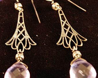 Aquamarine with Silver Drops Earrings