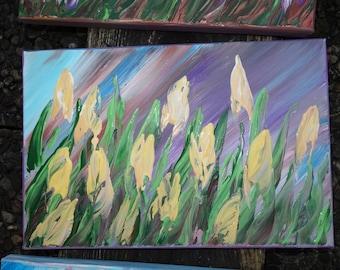 "Original Painting Art TULIPS 57 Midcentury Modern KSAVERA 8""x12"" Flowers Art Nouveau Little Small paintings on canvas birthday for mom her"