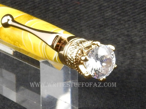 Lemon Yellow Twist Pen, Adorned with Swarovski Crystal and Finished in 24k Gold