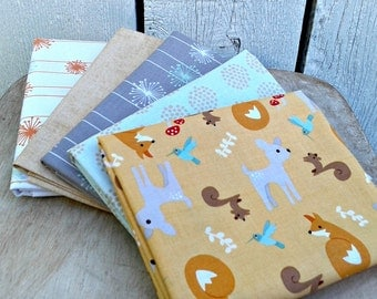 "Riley Blake Fabric Precut Fat Quarters Woodland Theme 5 Fat Quaters measuring about 18"" X 21"""
