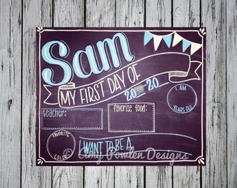 Reusable Hand-painted first day of school chalkboard/Personalized Photo prop