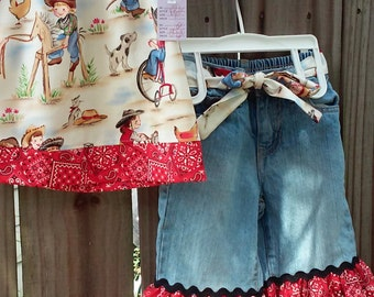 Western print top and jean set
