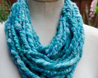 Beautiful Aqua Infinity Scarf with Specs of Blue *  Hand Spun Art Yarn * Infinity Scarf * Chunky Cowl