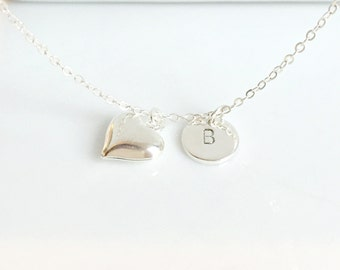 Heart Necklace, Initial Heart Necklace, Silver Heart Necklace, Initial Necklace, Silver Jewelry, Mom Jewelry, Bridesmaid Gifts, UK Shop