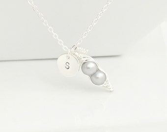 Pea Pod Necklace, PeaPod Necklace,Peas in a Pod Necklace, Silver PeaPod Necklace,Personalized Necklace,Initial Necklace, UK,Bridesmaid Gifts