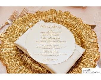 "6"", 6 1/2"", 7 1/2"" or 8"" diameter glamorous and classy circle wedding menu cards"
