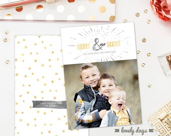 Christmas Card Template Photoshop for Photographers INSTANT DOWNLOAD